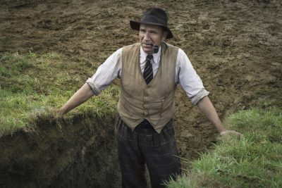 Ralph Fiennes in the trench at Sutton Hoo